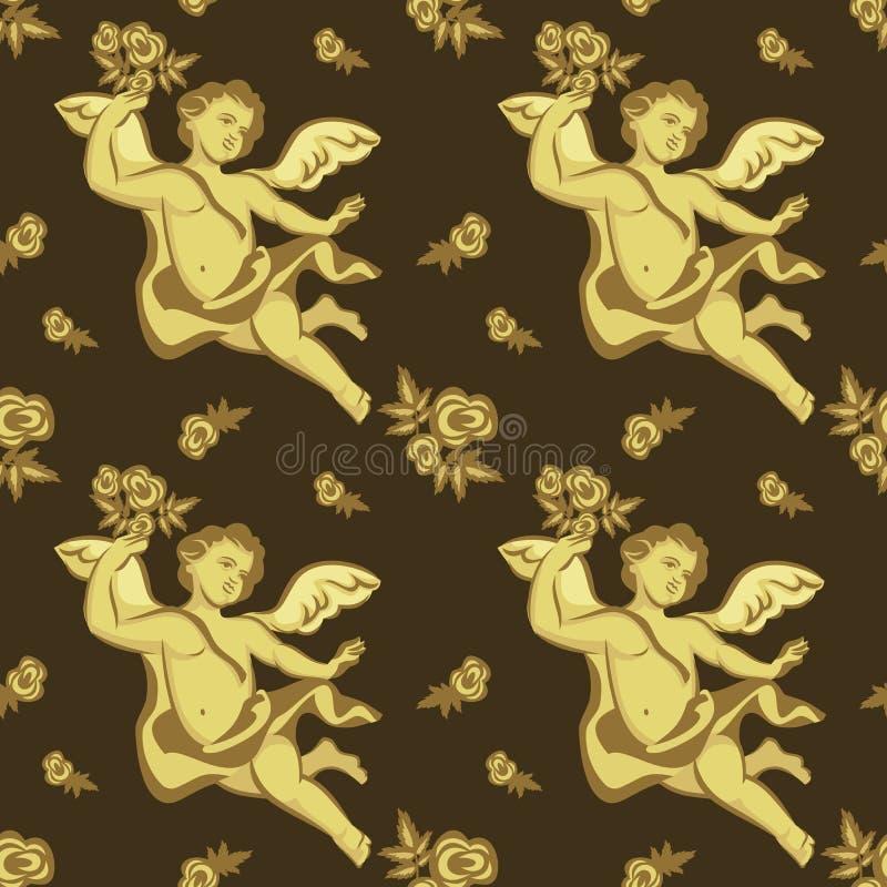 Naadloos patroon met cherubijnen vector illustratie