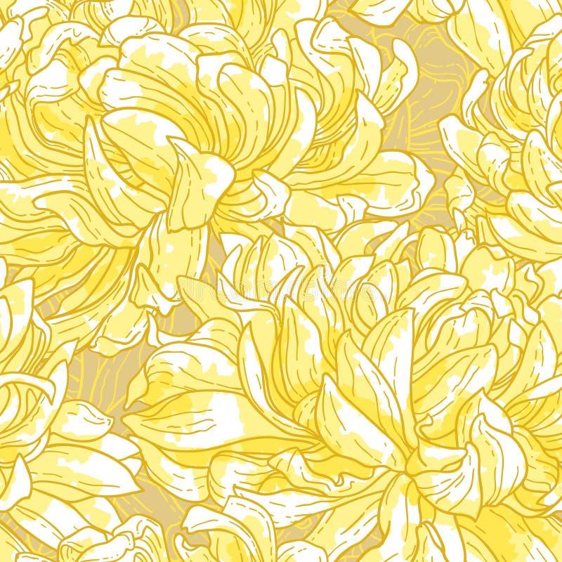 Naadloos patroon met chrysant stock illustratie