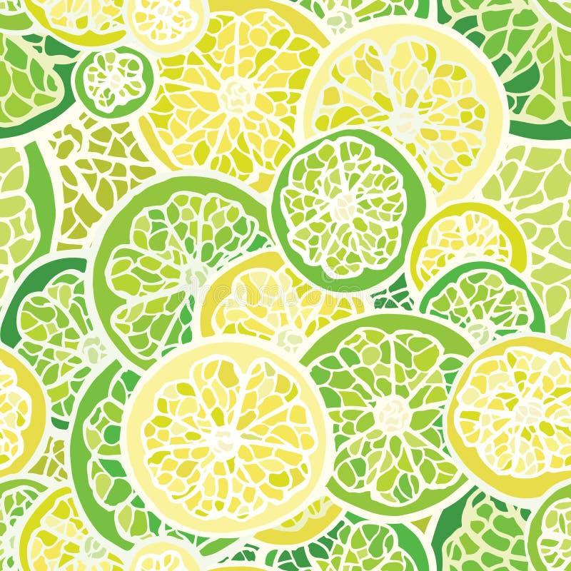 Naadloos patroon met citroen en kalk vector illustratie