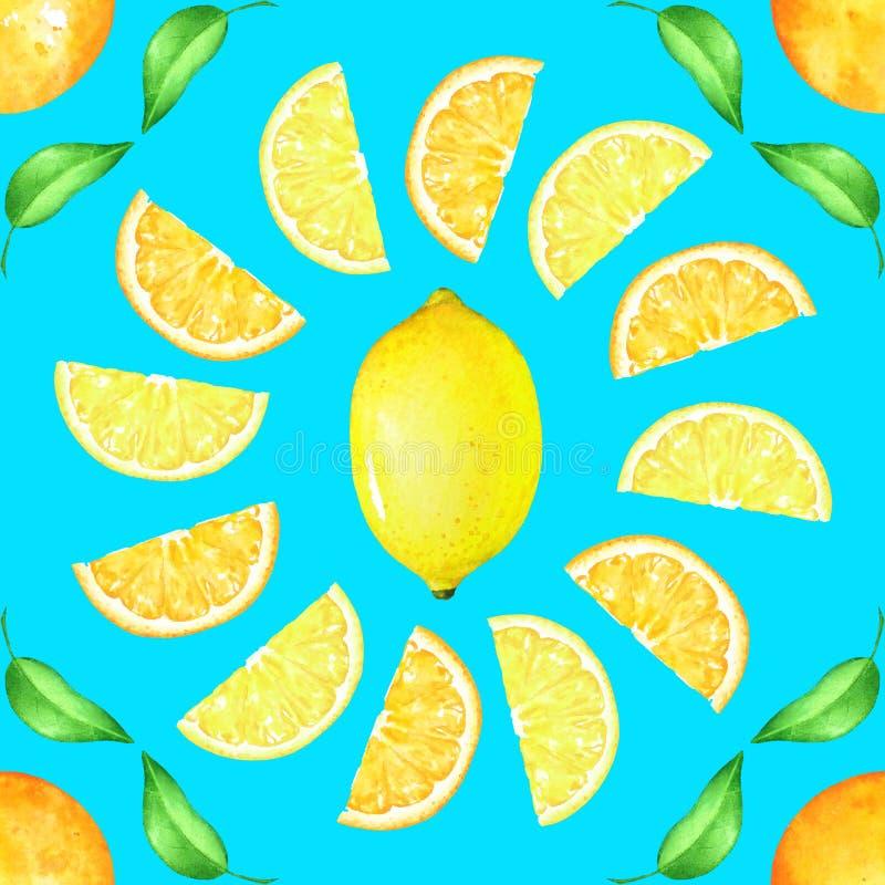 Naadloos patroon met citrusvruchten en groene bladeren op blauwe achtergrond vector illustratie