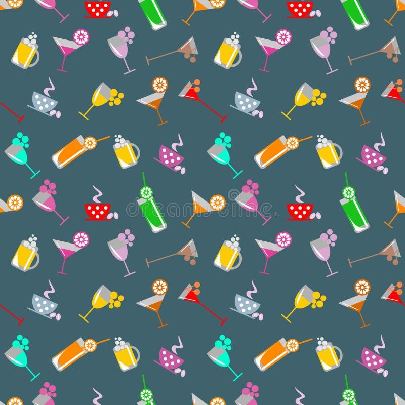 Naadloos patroon met cocktail met glazen met wijn, bier, sap en vruchten op de blauwe achtergrond stock illustratie