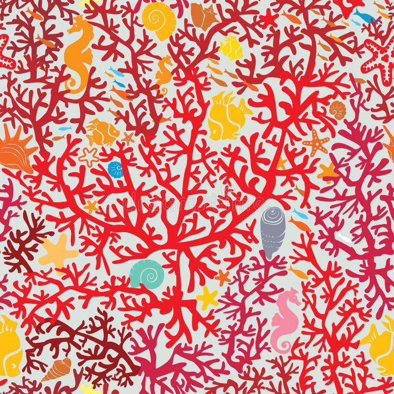 Naadloos patroon met Coral Reef en het Mariene leven - stock illustratie
