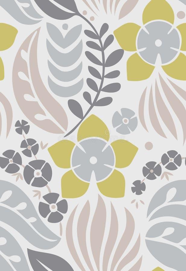 Naadloos patroon met creatieve decoratieve bloemen in Skandinavische stijl Noordse stijl Groot voor stof, het verpakken, textiel, royalty-vrije illustratie