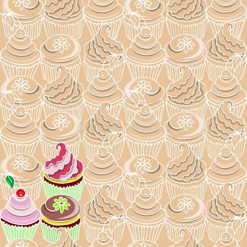 Naadloos patroon met cupcake royalty-vrije stock foto