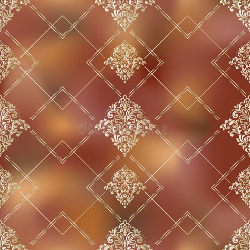 Naadloos patroon met damastornament Vector uitstekend bloemen naadloos patroonelement Het damast Wallpaper vector illustratie
