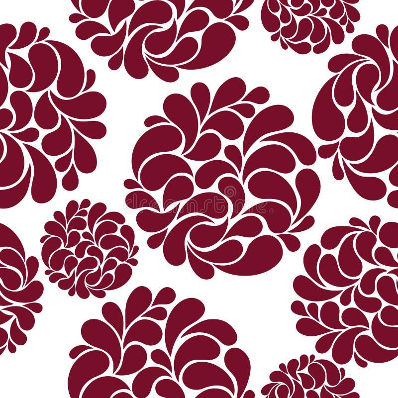 Naadloos patroon met de abstracte bloemen van Bourgondië royalty-vrije stock afbeeldingen