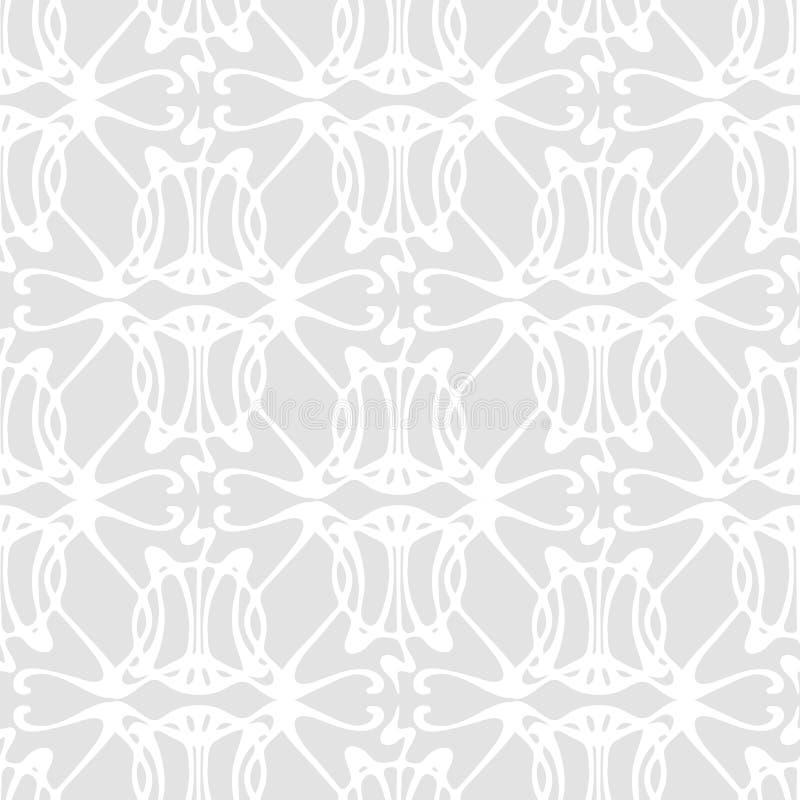 Naadloos patroon met de abstracte grijze bloemenstijl van Art Nouveau vector illustratie