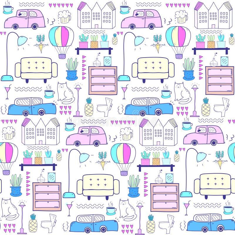 Naadloos patroon met de achtergrond van het huismeubilair stock illustratie