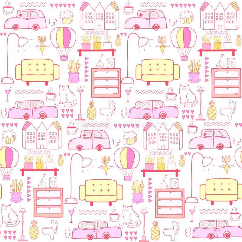 Naadloos patroon met de achtergrond van het huismeubilair vector illustratie