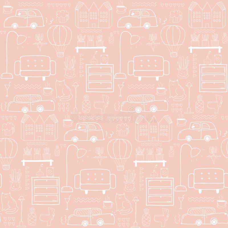 Naadloos patroon met de achtergrond van het huismeubilair royalty-vrije illustratie