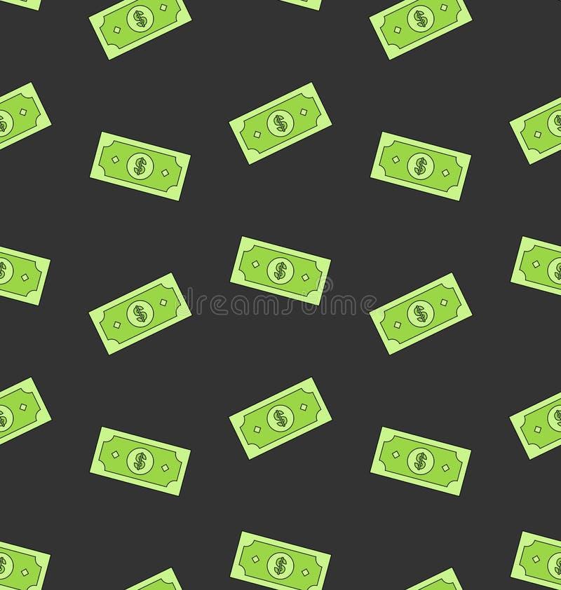 Naadloos Patroon met de Amerikaanse Bankbiljetten van Gelddollars stock illustratie