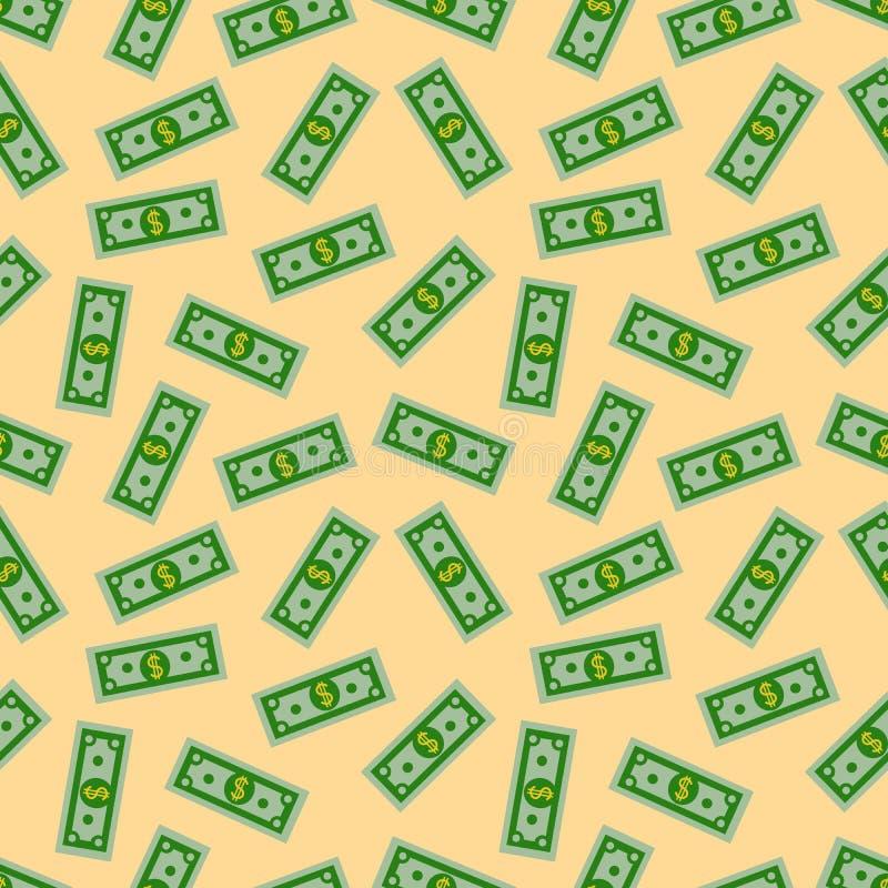 Naadloos Patroon met de Amerikaanse Bankbiljetten van Gelddollars op gele achtergrond Dollarrekening Vlakke ontwerpvector royalty-vrije illustratie