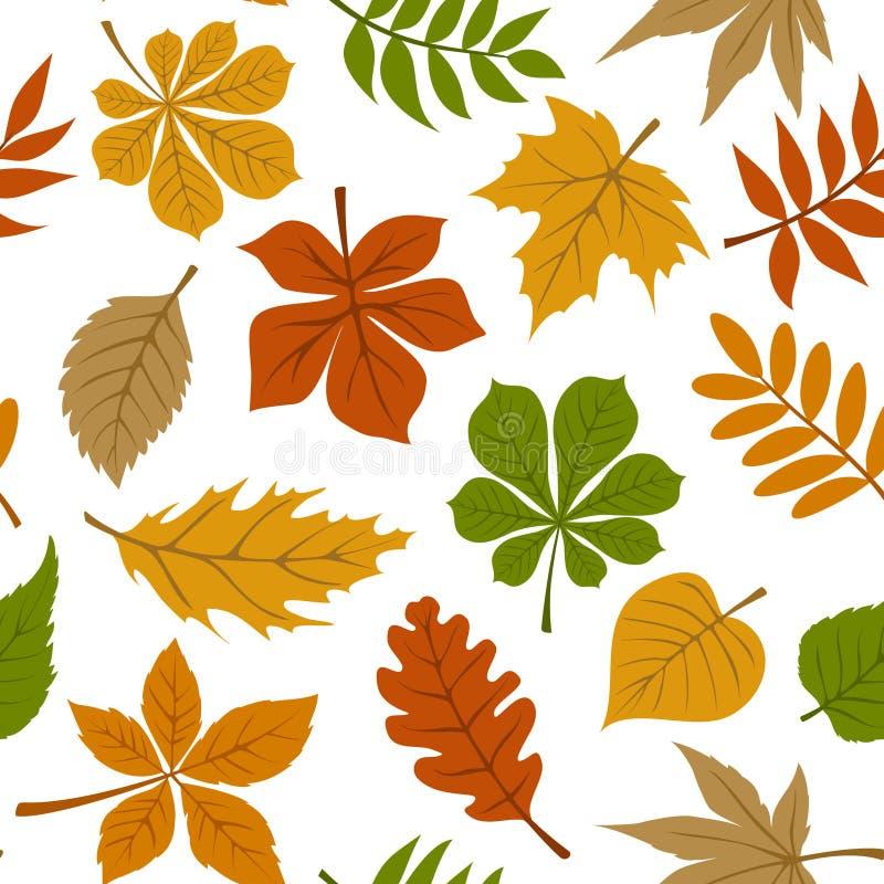 Naadloos patroon met de bladeren van de dalingsherfst op wit royalty-vrije illustratie