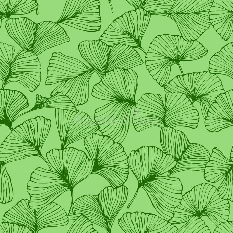 Naadloos patroon met de bladeren van ginkgobiloba, de geweven hand getrokken aders van het overzichtsblad