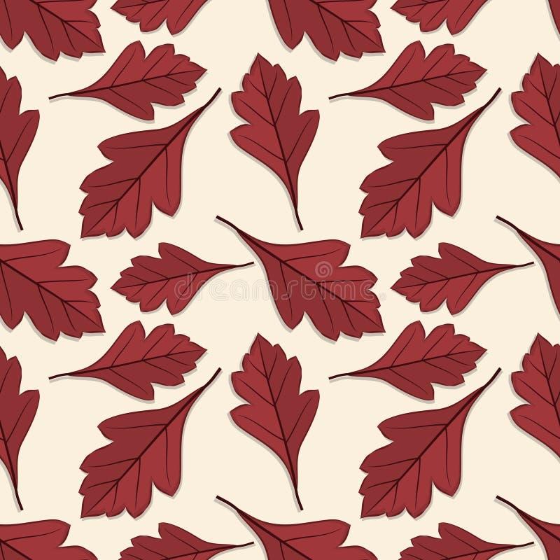Naadloos patroon met de bladeren van de haagdoornherfst vector illustratie