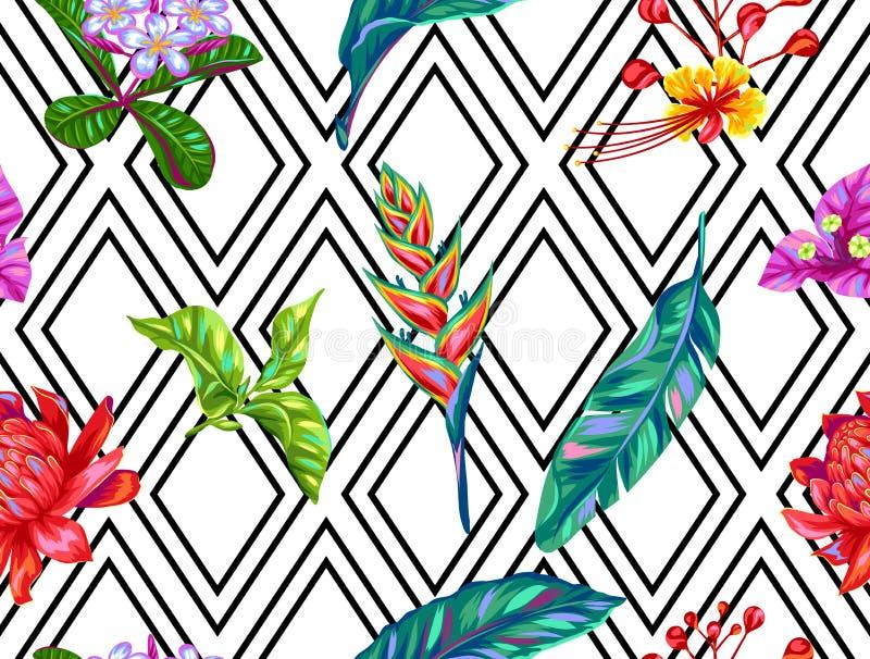 Naadloos patroon met de bloemen van Thailand Tropische veelkleurige installaties, bladeren en knoppen vector illustratie