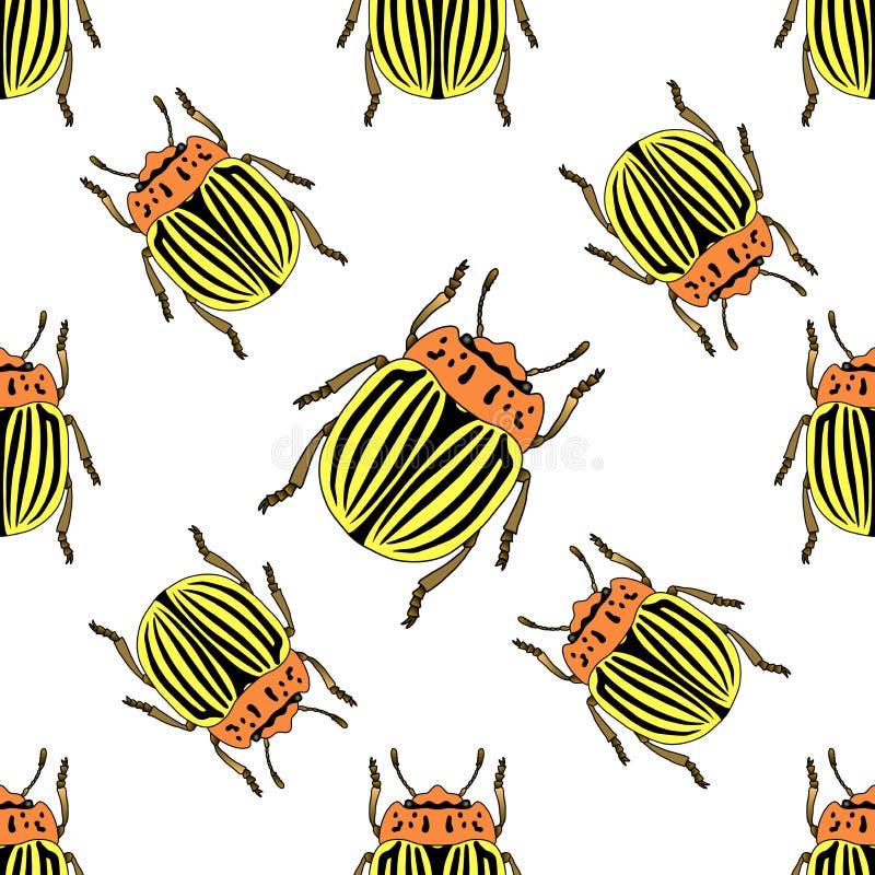 Naadloos patroon met de coloradokever van Colorado Leptinotarsadecemlineata Wrecker op aardappelsblad Vector stock illustratie