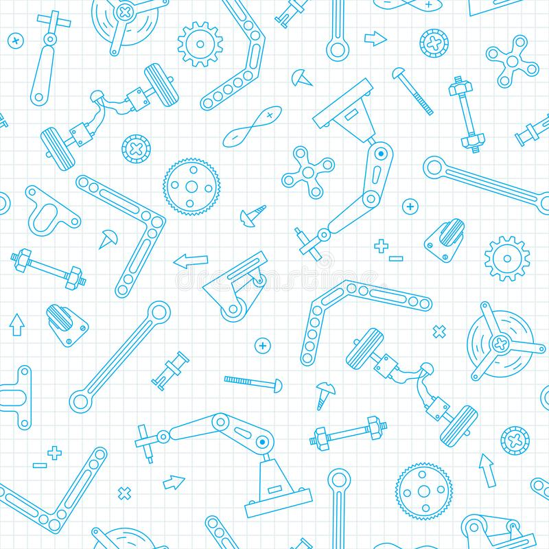 Naadloos patroon met de details en toestellen voor bouwrobotica Vector illustratie royalty-vrije illustratie
