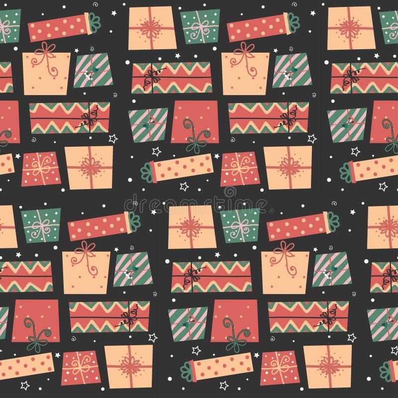 Naadloos patroon met de dozen van de Kerstmisgift vector illustratie