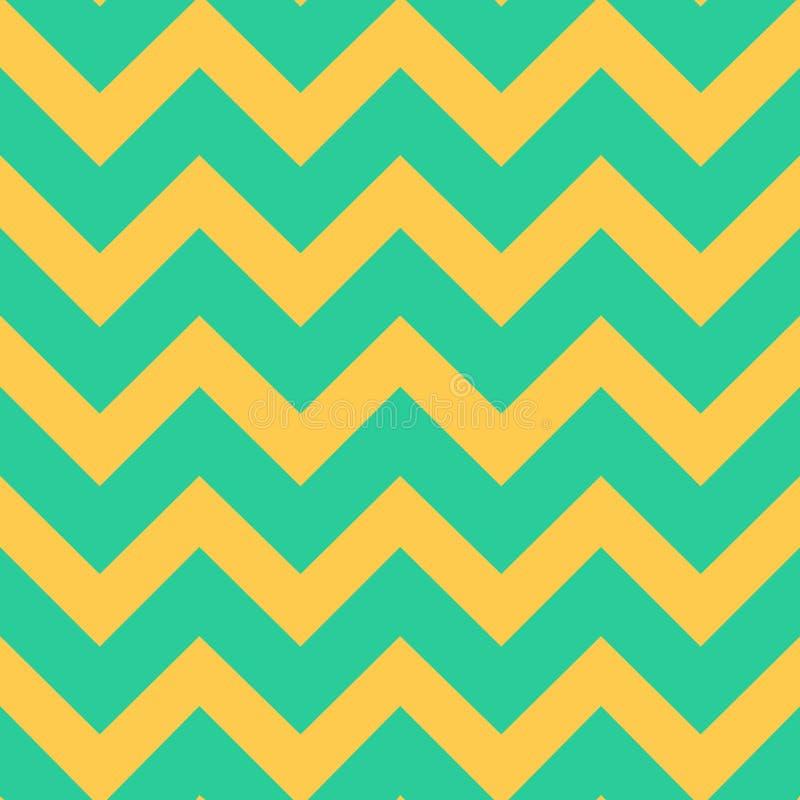 Naadloos patroon met de gele lijnen van de zigzagchevron op groene achtergrond Traditioneel tegelontwerp Vector illustratie stock illustratie