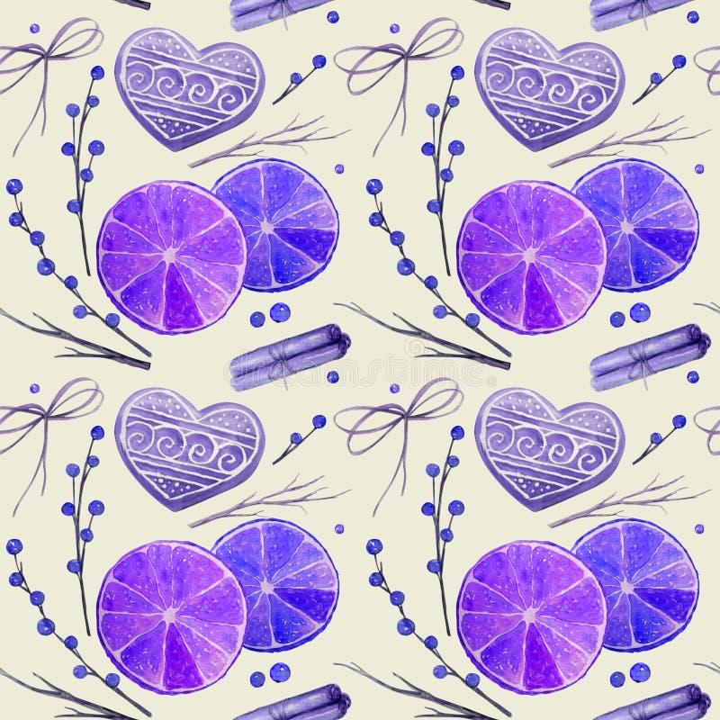 naadloos patroon met de gemberkoekjes van waterverfkerstmis stock illustratie