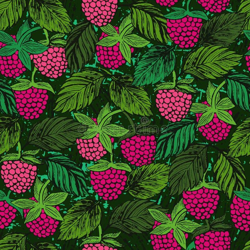 Naadloos patroon met de getrokken gekleurde bessen van de frambozeninkt hand vector illustratie