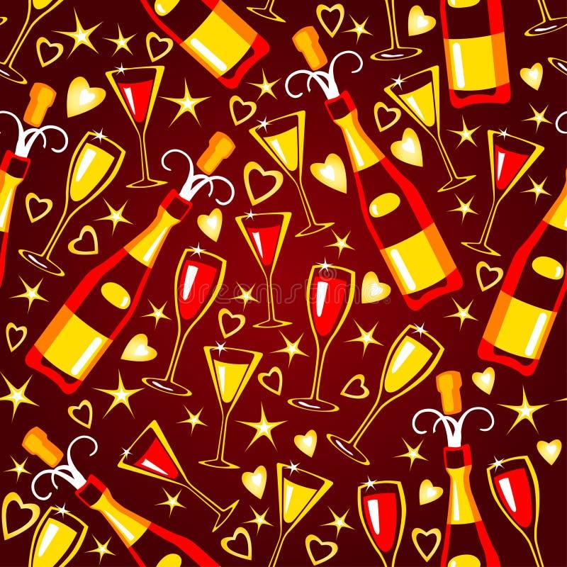 Naadloos patroon met de glazen van het flesseneind stock illustratie