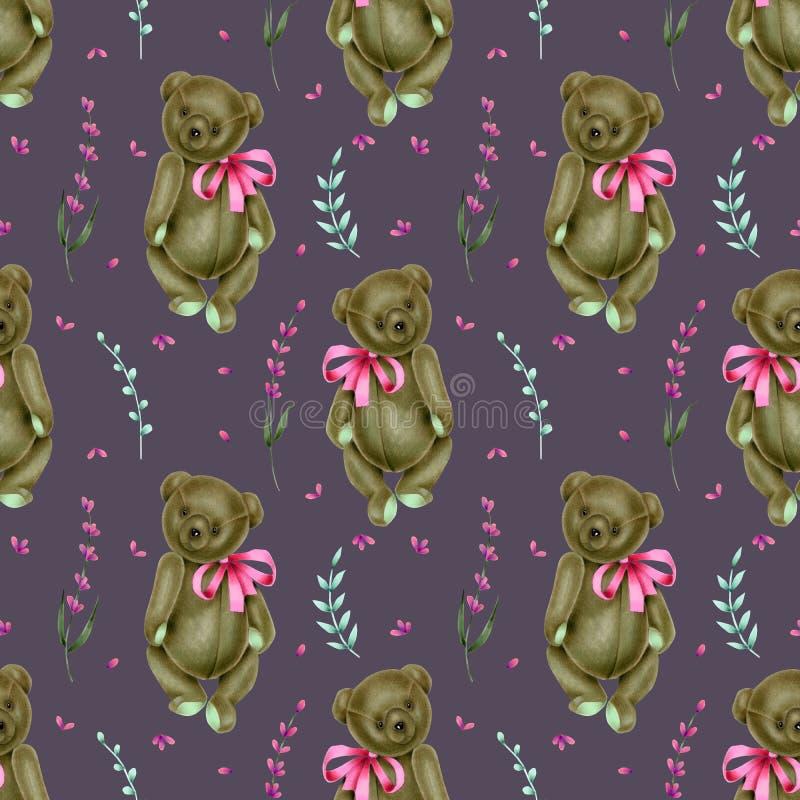 Naadloos patroon met met de hand geschilderde zachte pluchestuk speelgoed teddyberen en lavendelbloemen royalty-vrije illustratie