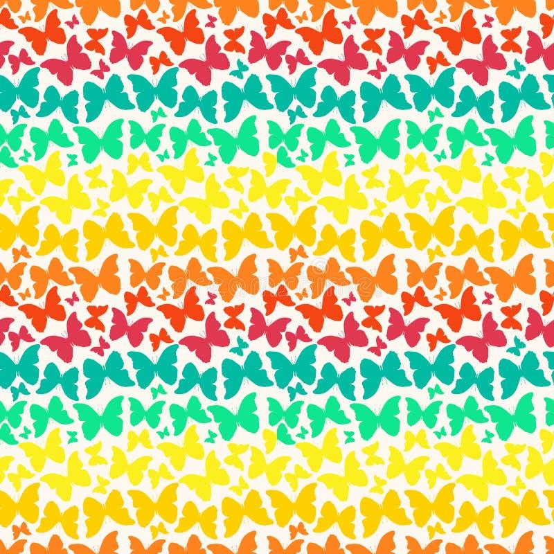 Naadloos patroon met de heldere vlinders van het regenboogsilhouet vector illustratie