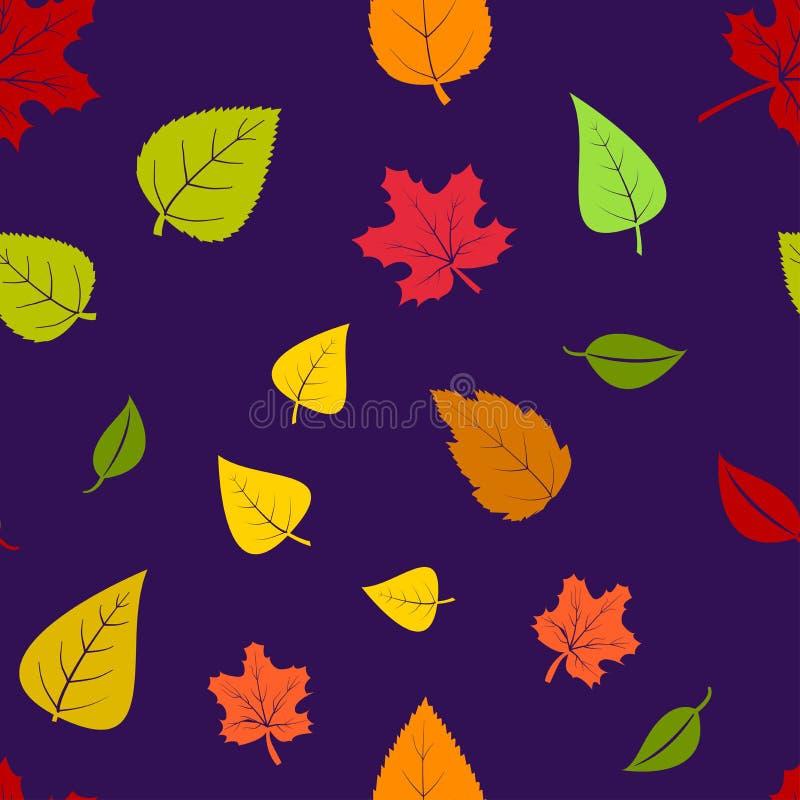 Naadloos patroon met de herfstbladeren op purpere achtergrond Vector illustratie vector illustratie