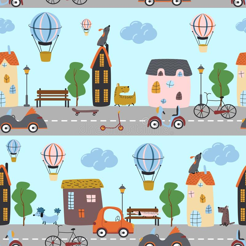 Naadloos patroon met de honden en het vervoer van stadsstraten - vectorillustratie, eps vector illustratie