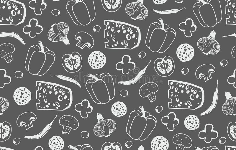 Naadloos patroon met de ingrediënten voor pizza vector illustratie