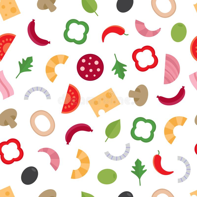 Naadloos patroon met de ingrediënten voor pizza De achtergrond van het voedsel vector illustratie