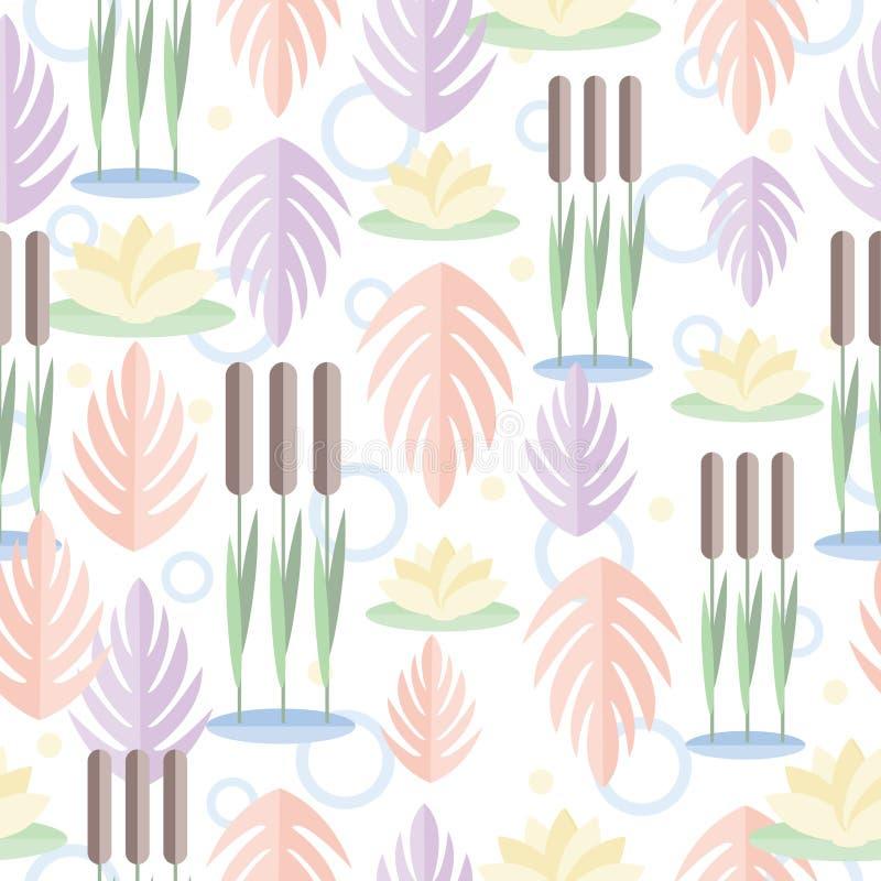 Naadloos patroon met de installaties van het moerasland Riet, waterlelie en bladeren in vlak ontwerp Op witte achtergrond stock illustratie