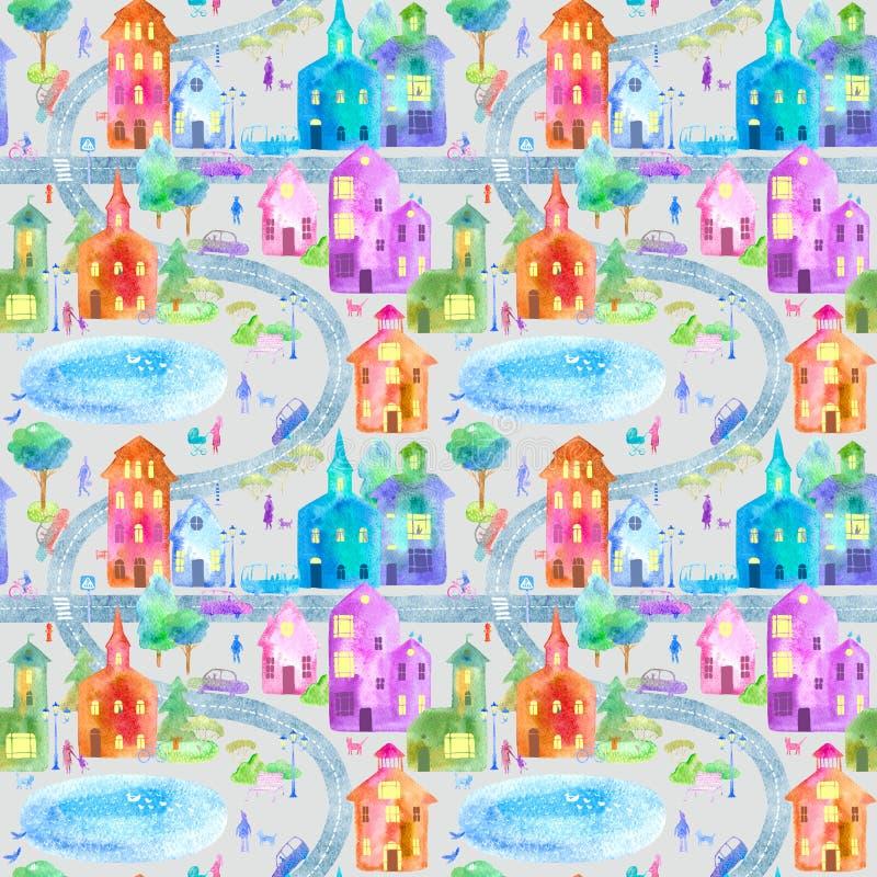 Naadloos patroon met de kaart, de weg, het park en het meer van de de winterstad stock illustratie