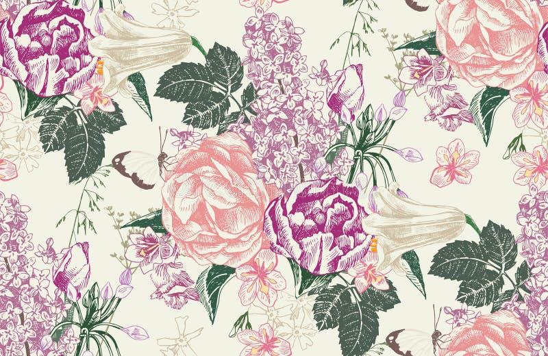 Naadloos patroon met de lentebloemen royalty-vrije illustratie