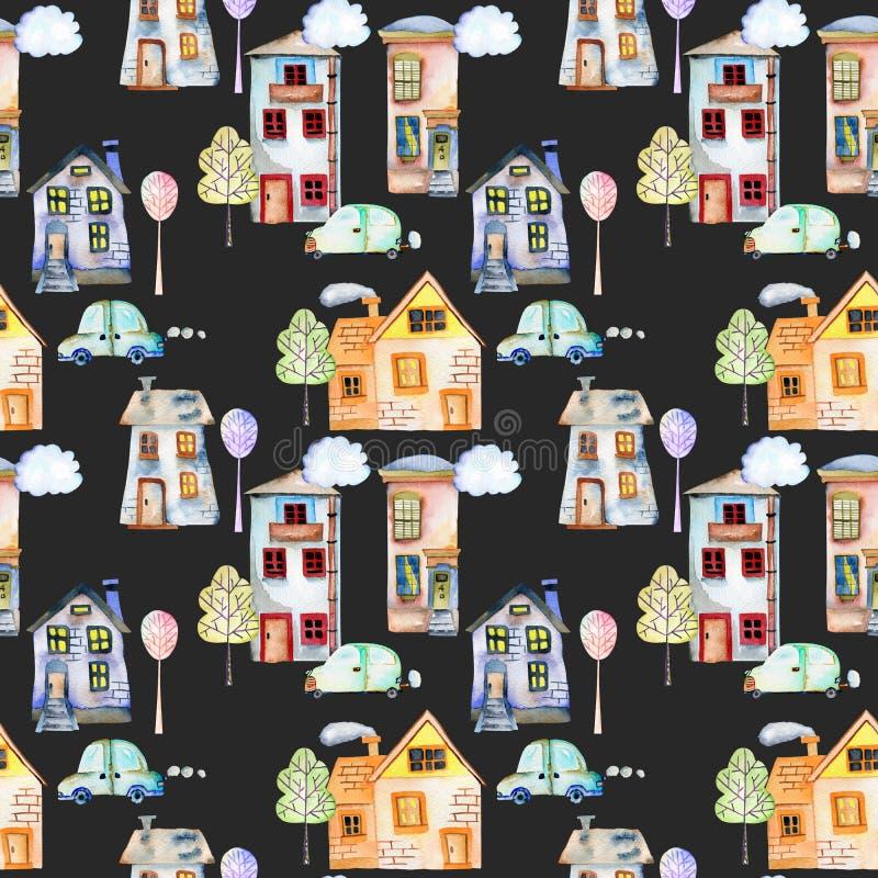 Naadloos patroon met de leuke huizen, de auto's, de bomen en de wolken van de beeldverhaalwaterverf Engelse vector illustratie