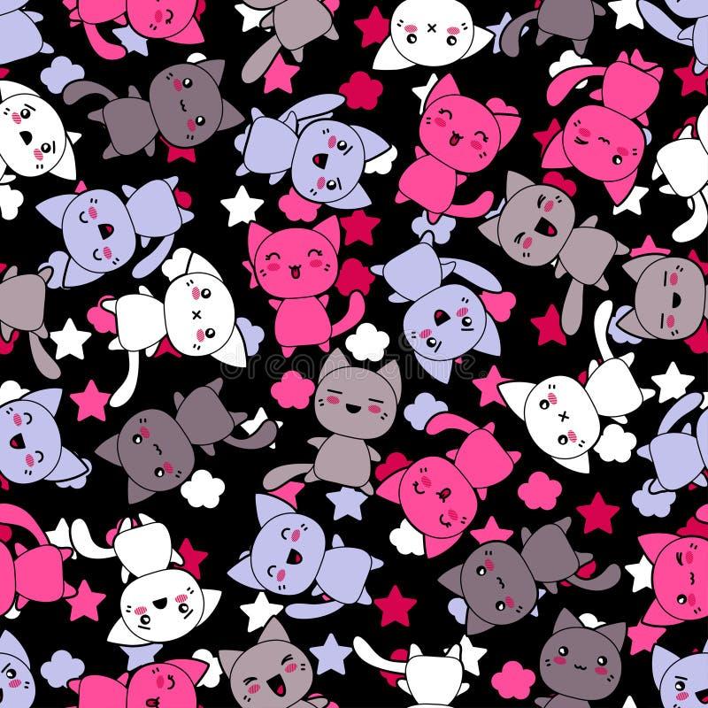 Naadloos patroon met de leuke katten van de kawaiikrabbel vector illustratie