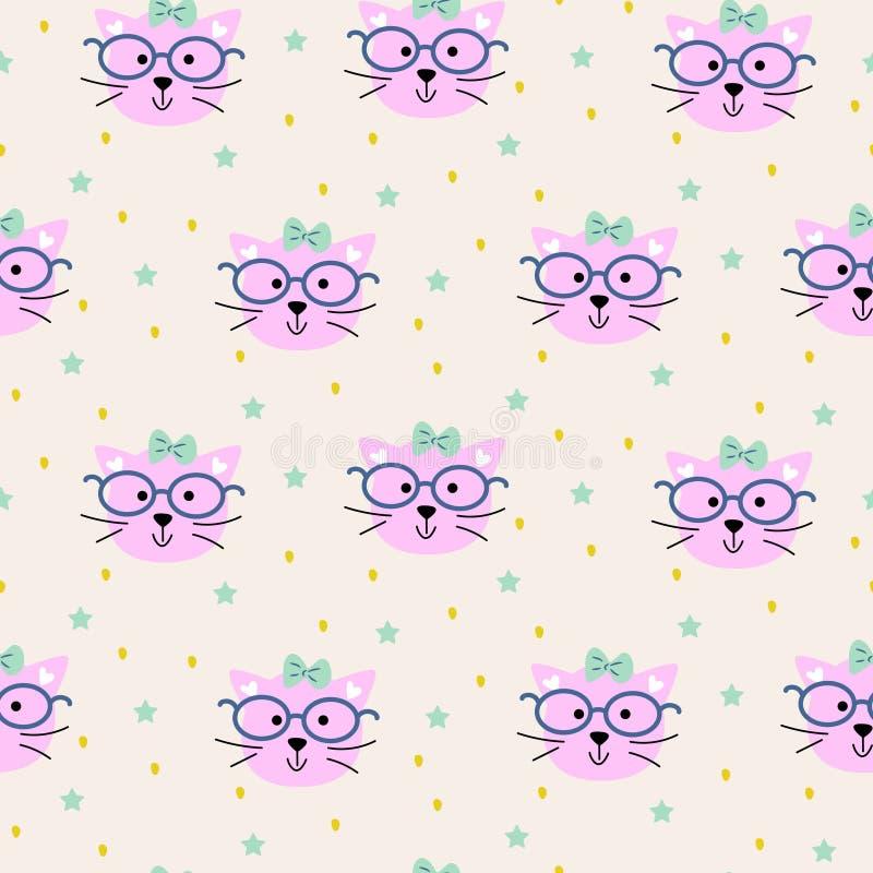 Naadloos patroon met de manierachtergrond van kattenhoofden stock illustratie
