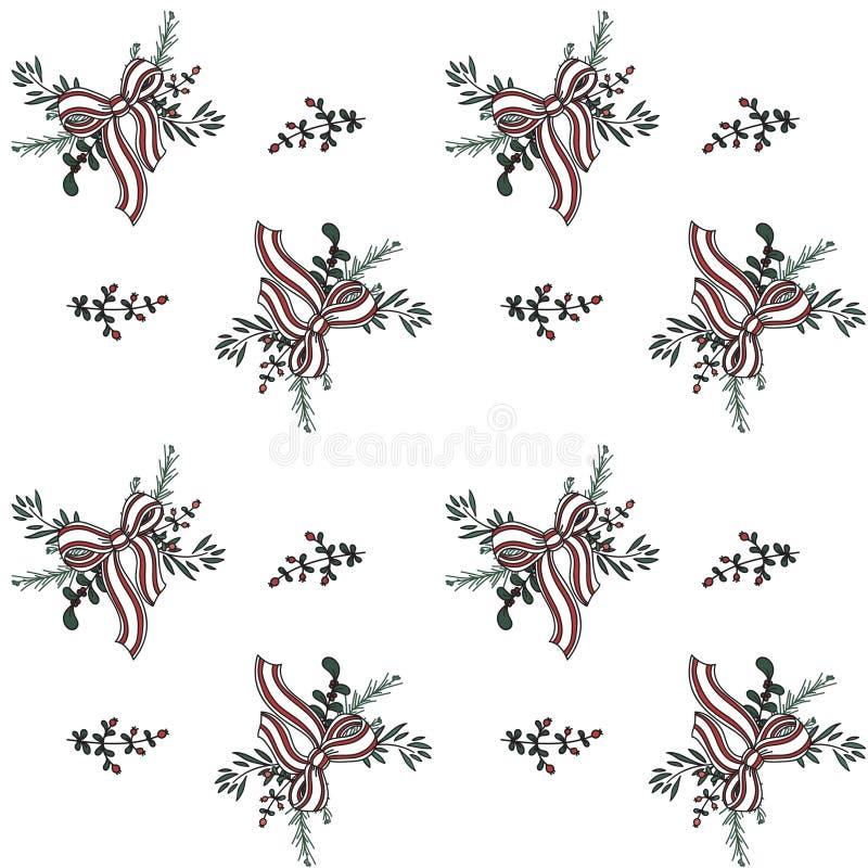 Naadloos patroon met de nieuwe linten van de jaarslinger en boomtakken vector illustratie