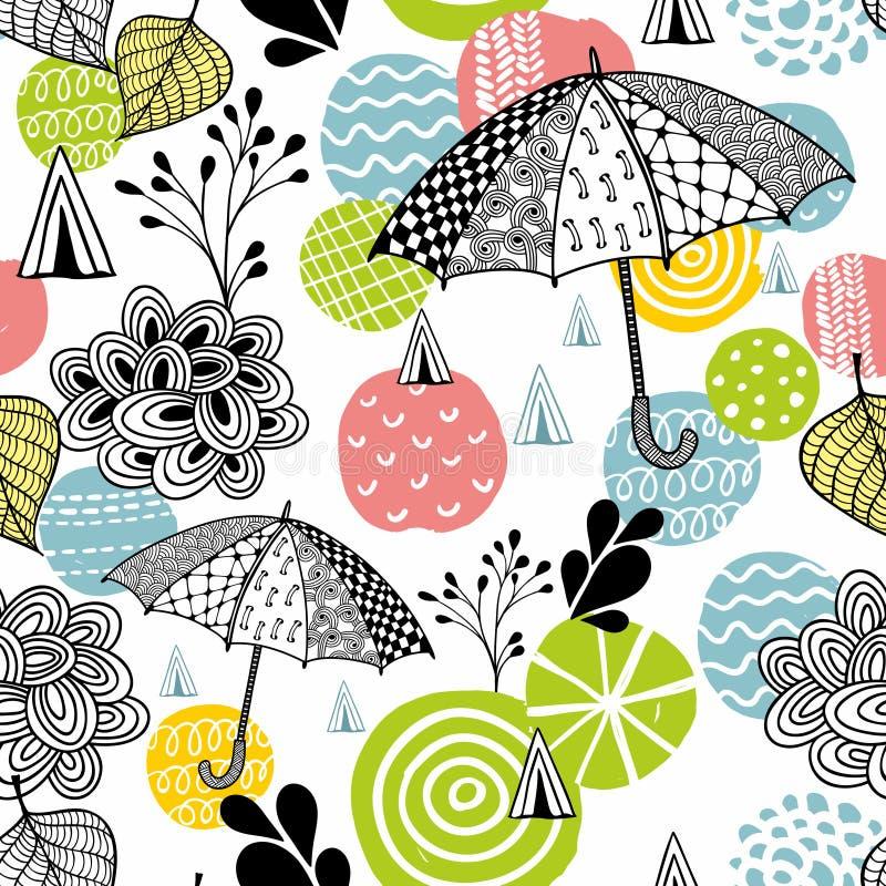 Naadloos patroon met de paraplu's van de de lentetijd vector illustratie