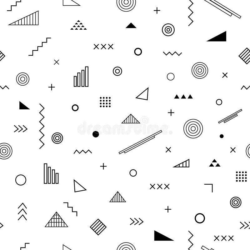 Naadloos patroon met de stijl van Memphis stock illustratie