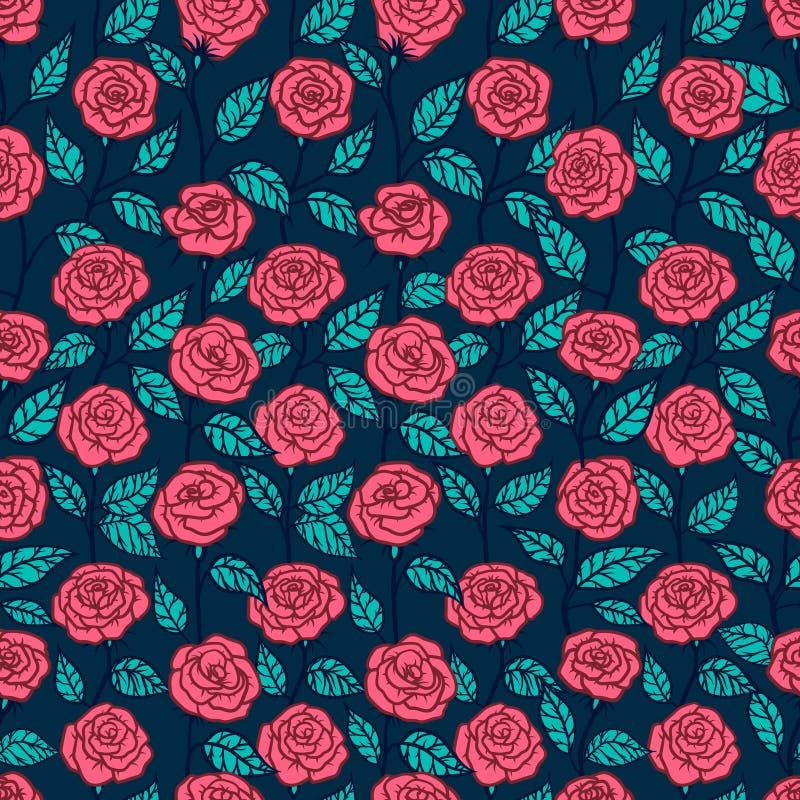 Naadloos patroon met de stijl van rozenboho Het art. van de schetslijn stock illustratie