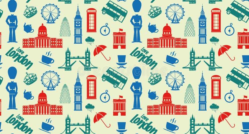 Naadloos patroon met de symbolen en de oriëntatiepunten van Londen Engeland royalty-vrije illustratie