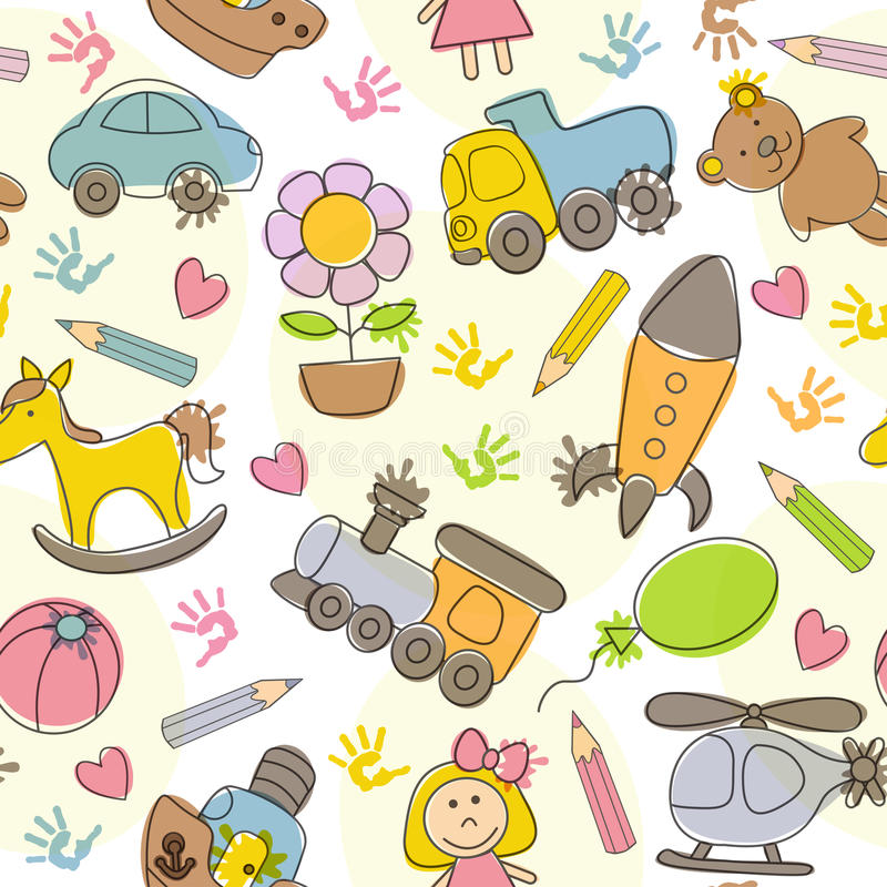 Naadloos patroon met de tekeningen van jonge geitjes stock illustratie