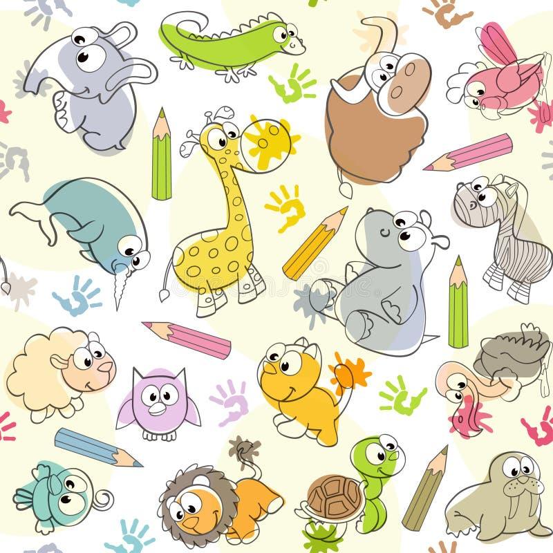 Naadloos patroon met de tekeningen van jonge geitjes van dieren stock illustratie