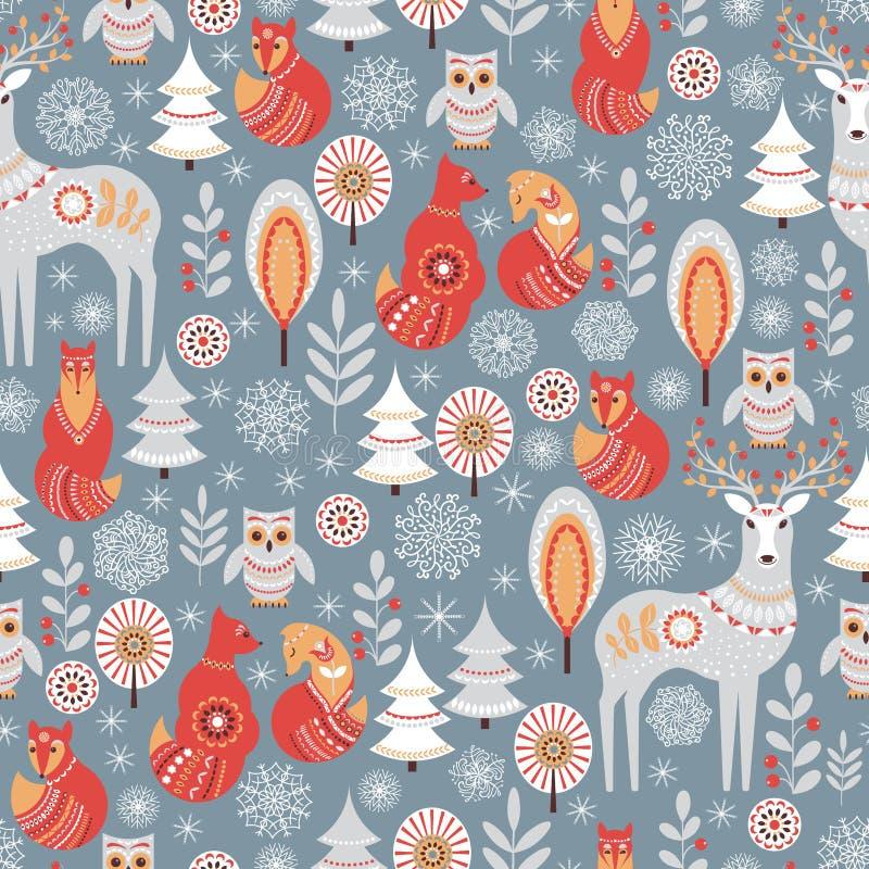 Naadloos patroon met de winterbos, herten, uil en Vos stock illustratie