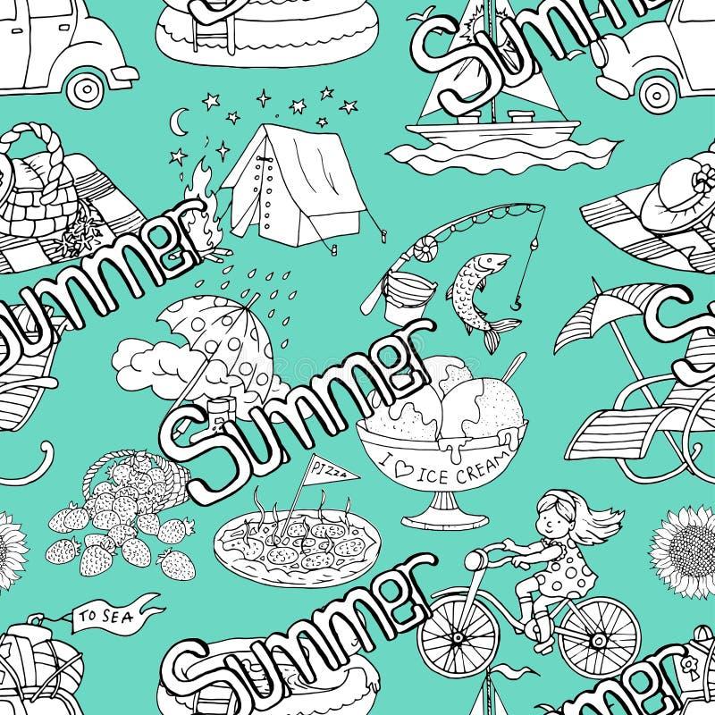 Naadloos patroon met de zomer het van letters voorzien, het kamperen concept, roomijs, meisjes berijdende fiets royalty-vrije illustratie