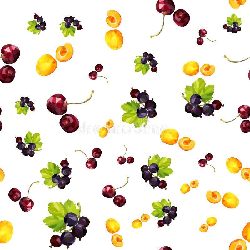 Naadloos patroon met de zomerbessen van abrikoos, bes en kers vector illustratie