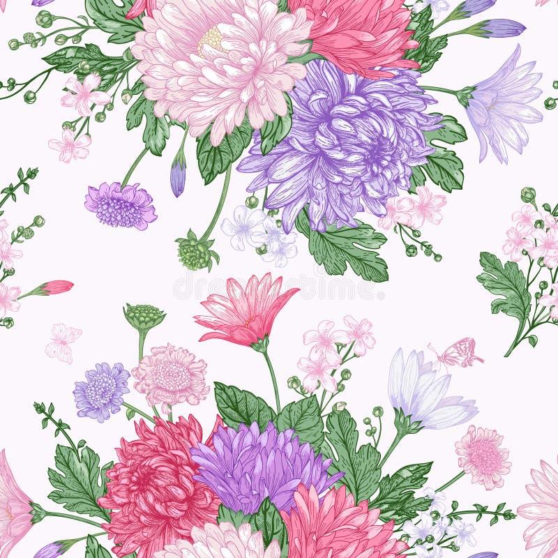 Naadloos patroon met de Zomerbloemen royalty-vrije illustratie